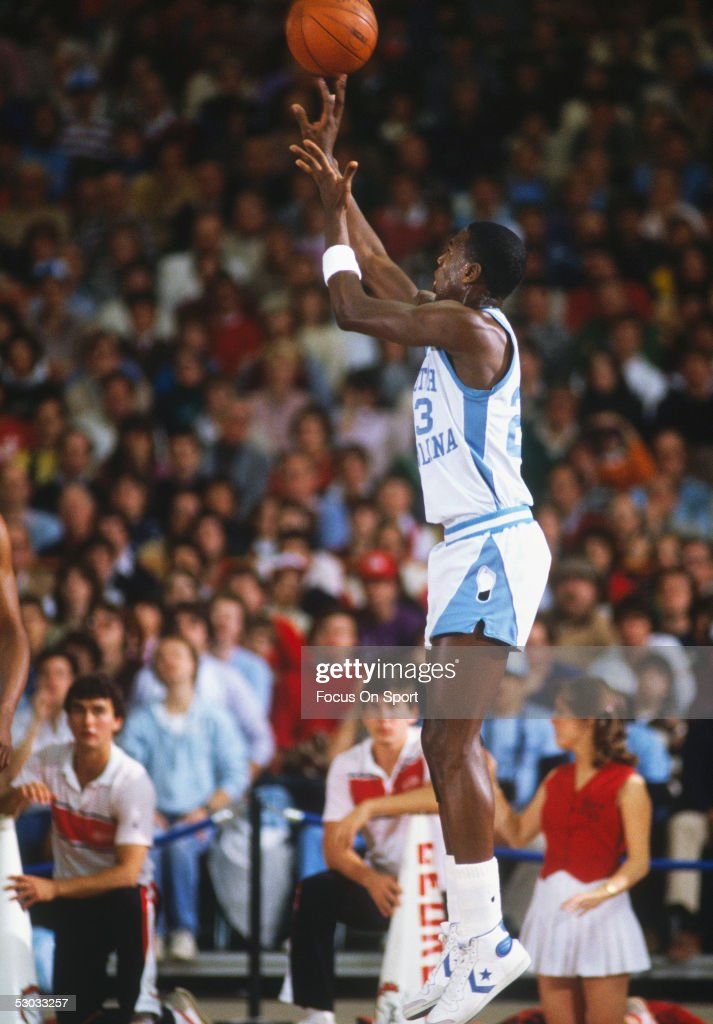 University of North Carolina's Michael Jordan #23 makes a jumpshot during his college career at North Carolina.