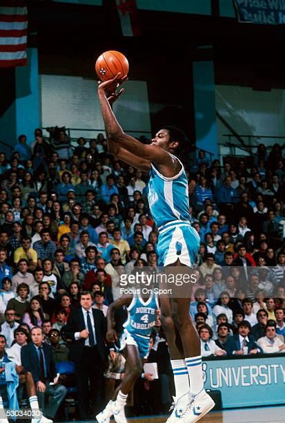 University of North Carolina's Sam Perkins makes a jumpshot during a game.