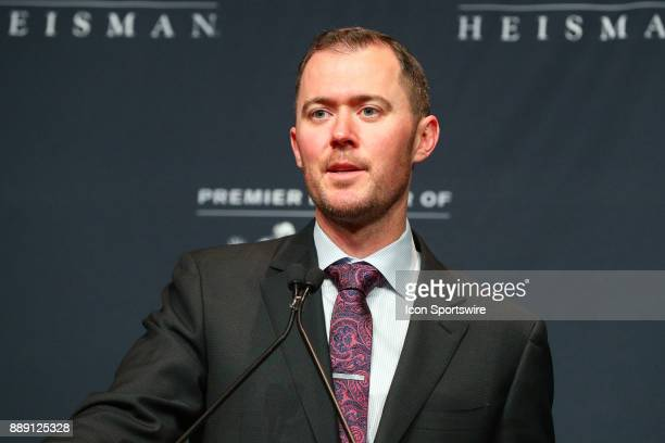 2017 University of Oklahoma head coach Lincoln Riley speaks during the Heisman Trophy Winner Press Conference on December 9 at the Marriott Marquis...