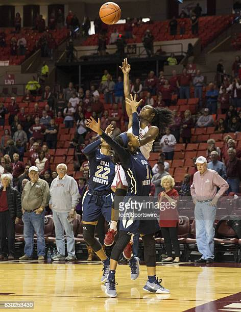 University of Oklahoma player Tona Edwards shoots the ball during the Oral Roberts University vs University of Oklahoma NCAA Women's Basketball game...