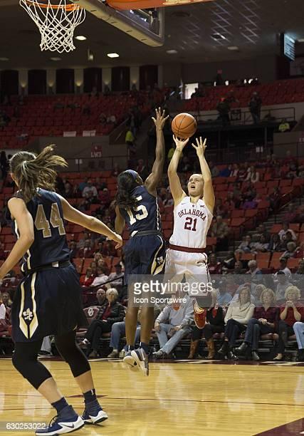 University of Oklahoma playerGabbi Ortiz shoots the ball during the Oral Roberts University vs University of Oklahoma NCAA Women's Basketball game...