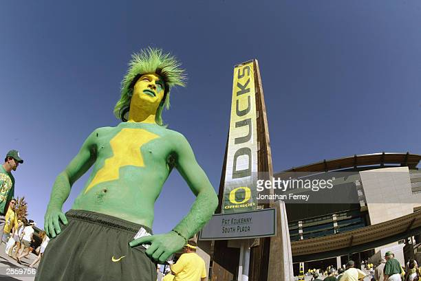 University of Oregon fan poses outside the Autzen stadium before the game against the Washington State University Cougars on September 27 2003 in...