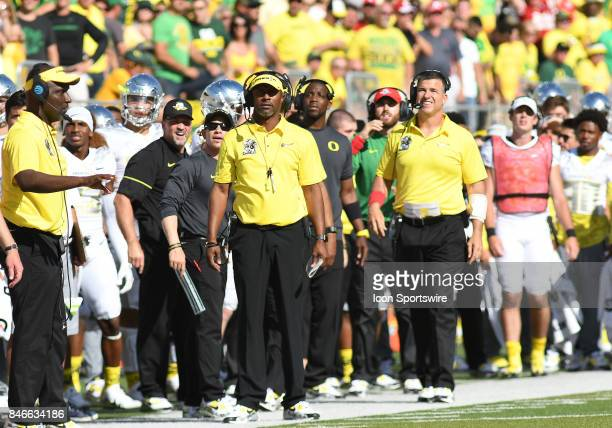 University of Oregon head coach Willie Taggart watches play from the sideline during a college football game between the Nebraska Cornhuskers and...