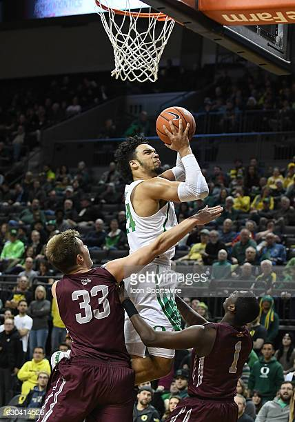 University of Oregon junior forward Dillon Brooks shoots over University of Montana redshirtfreshman Jared Samuelson during a nonconference NCAA...
