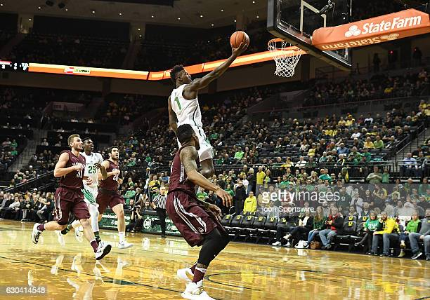University of Oregon junior forward Jordan Bell goes in for a layup during a nonconference NCAA basketball game between the University of Montana...