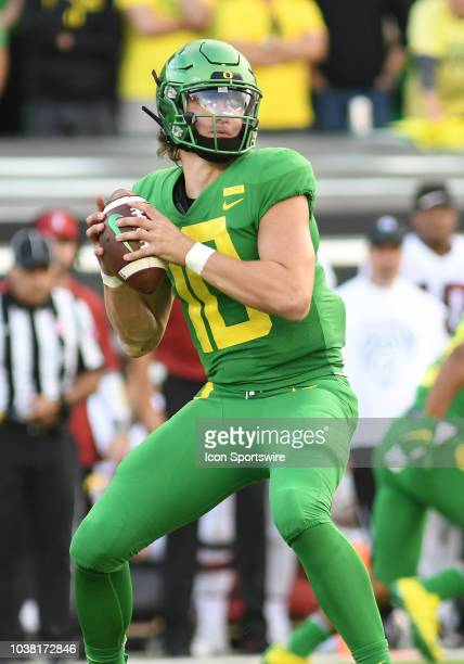 University of Oregon QB Justin Herbert looks to pass during a college football game between the Oregon Ducks and Stanford Cardinal on September 22 at...