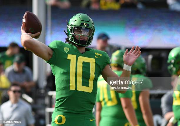 University of Oregon QB Justin Herbert warms up prior to the start of the game during a college football game between the Oregon Ducks and Stanford...