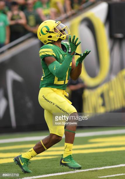 University of Oregon RB Tony BrooksJames readies to receive the opening kick during an NCAA football game between the Southern Utah Thunderbirds and...