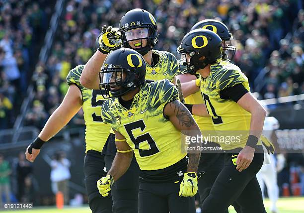 University of Oregon WR Charles Nelson reacts after scoring a first half touchdown during a PAC12 NCAA football game between the Oregon Ducks and the...