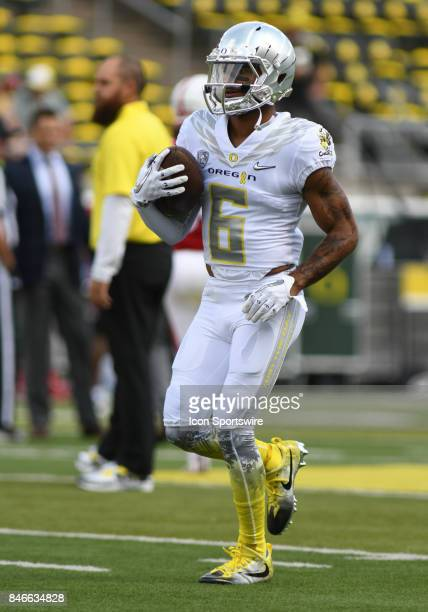 University of Oregon WR Charles Nelson warms up during a college football game between the Nebraska Cornhuskers and Oregon Ducks on September 9 at...