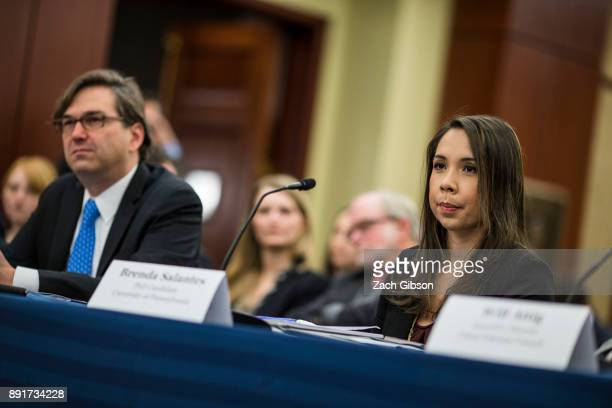 University of Pennsylvania PhD Candidate Brenda Salantes and former Council of Economic Advisers Chairman Jason Furman listen during a forum held by...