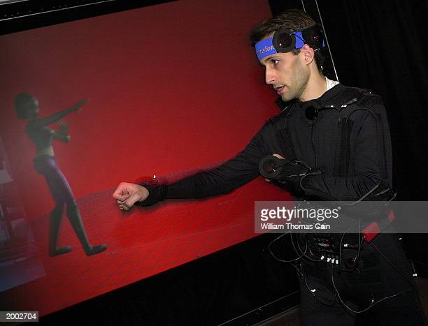 University of Pennsylvania student Aaron Bloomfield along with an image of himself created into a character called Jill demonstrates the LiveActor...