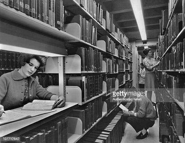 University of Pennsylvania students locate books on the stacks at the new Charles Patterson Van Pelt Library in 1962