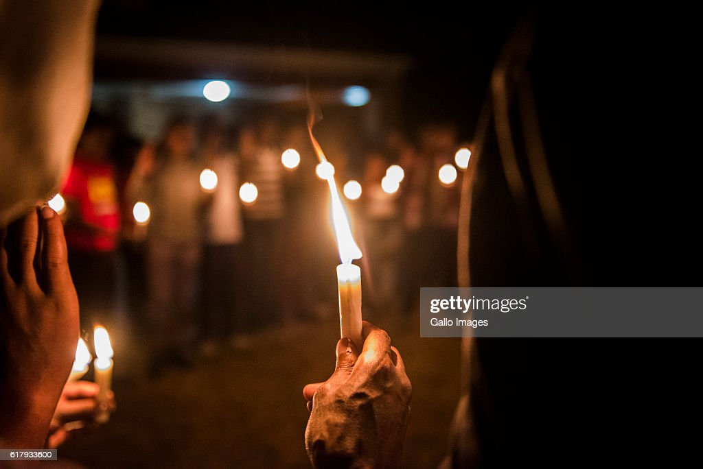University Of Pretoria Students Gather During A Candle Lighting Ceremony  For The Arrested Fellow Students Held
