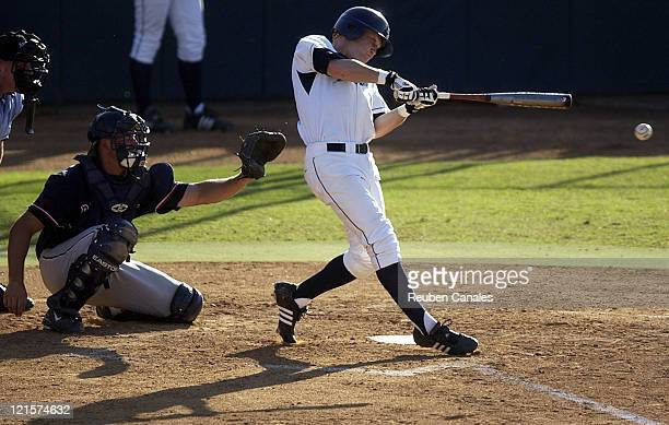 University of San Diego Toreros outfielder Justin Snyder at the plate as they were deafeated by the Fresno State Bulldogs 9 to 8 in the NCAA Baseball...