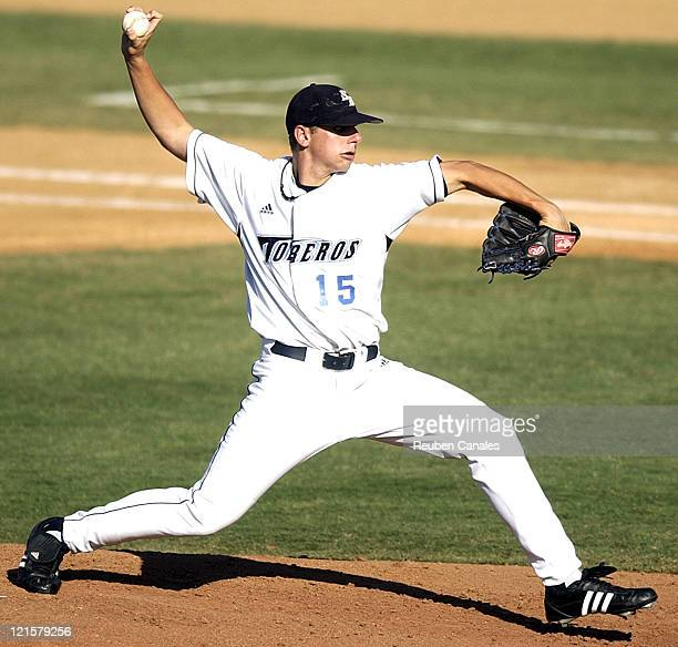 University of San Diego Toreros pitcher Matt Couch delivers to the plate as they were deafeated by the Fresno State Bulldogs 9 to 8 in the NCAA...