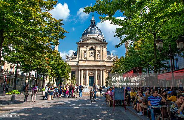 University of Sorbonne in Paris seen from the Place de la Sorbonne, France.