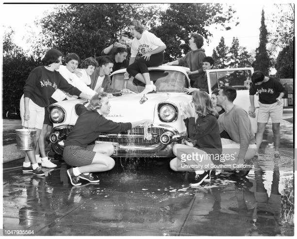 University of Southern California car wash 20 February 1959 Fraternity boys and sorority girls wash cars for underprivileged children at Idlewild...