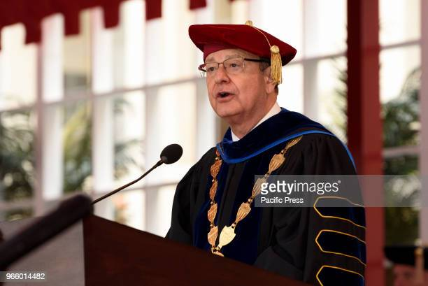 University of Southern California President CL Max Nikias attends USC commencement ceremony in Los Angeles California on May 11 2018 Nikias resigned...