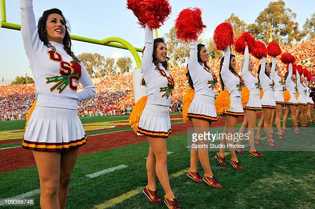 University of Southern California Trojans cheerleaders cheer with the crowd during the game against the Pennsylvania State Lions on January 1 2009 at...