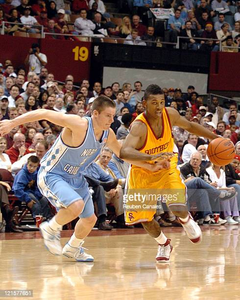 University of Southern California Trojans gurad Nick Young brings the ball upcourt in a 74 to 59 win over the University of North Carolina Tarheels...