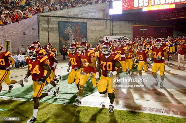 University of Southern California Trojans players enter the stadium at the start of the second half of the game against the University of Virginia...