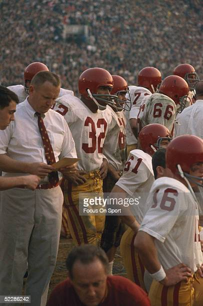 University of Southern California's running back OJ Simpson waits in the sideline during a game at USC in 1968 in Los Angeles California