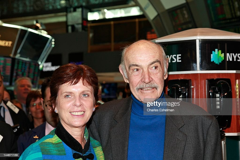 University of St Andrews Principal and Vice Chancellor Louise Richardson and Actor Sir Sean Connery visit the New York Stock Exchange on May 17, 2012 in New York City.