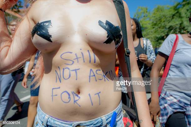 University of Stellenbosch students bare their bodies on a Start Letting Us Talk march during International Womens Day commemoration on March 07 2017...