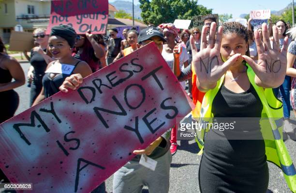University of Stellenbosch students embark on a Start Letting Us Talk march during International Womens Day commemoration on March 07 2017 in...