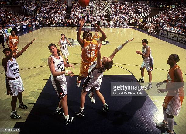 University of Tennessee's Dana Johnson tries to score in the paint against the UConn Huskies Storrs Ct 1995