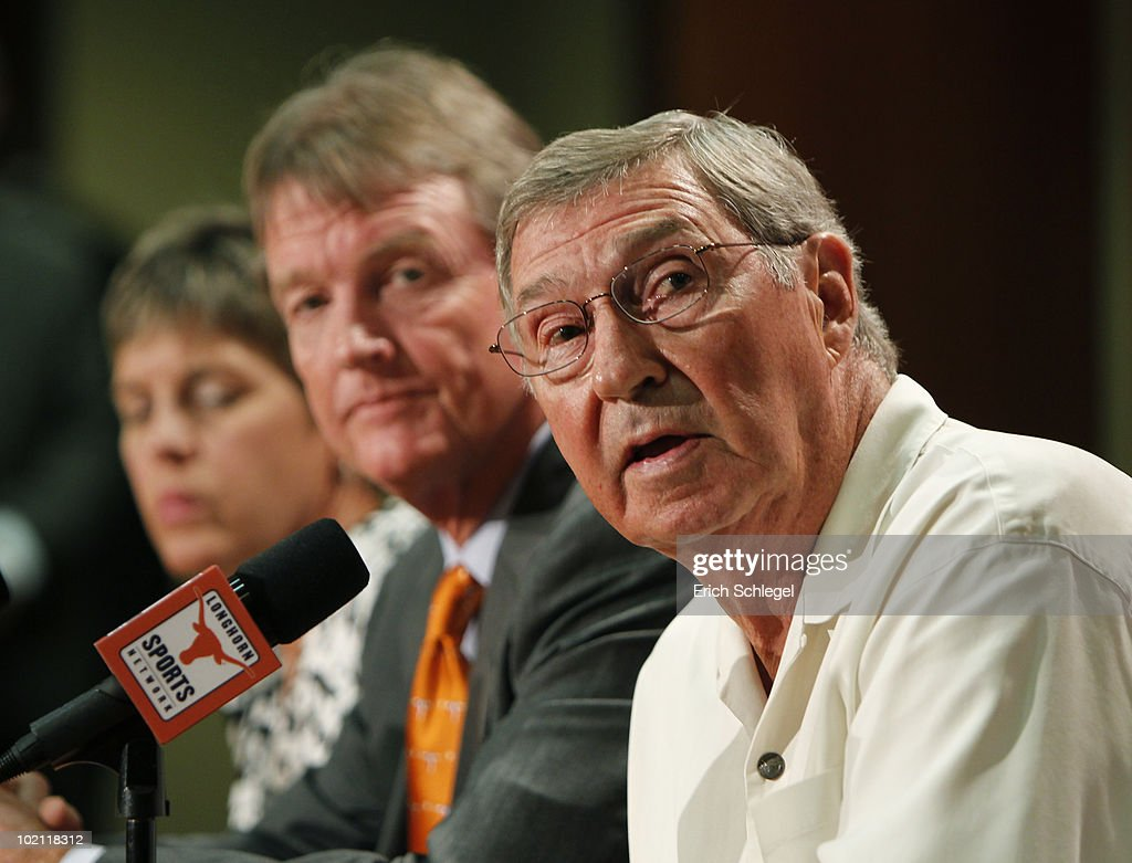University of Texas at Austin Men's Athletics Director DeLoss Dodds, right, University President William Powers Jr., center, and Women's Athletics Director Chris Plonskon announce the athletics programs will continue competing in the Big 12 Conference June 15, 2010 in Austin, Texas.