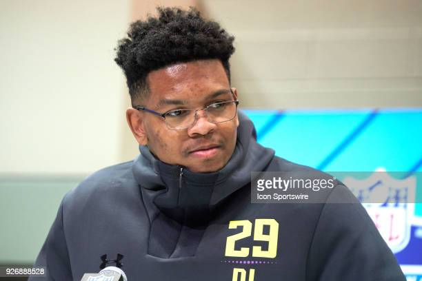 University of Texas at San Antonio defensive lineman Marcus Davenport answers questions from the media during the NFL Scouting Combine on March 03...