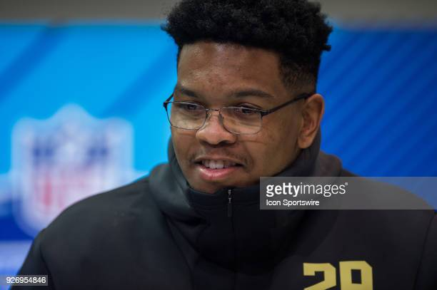 University of Texas at San Antonio defensive lineman Marcus Davenport answers questions from the media during the NFL Scouting Combine on March 3...