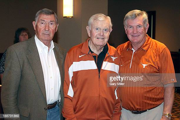 University of Texas Athletic Director DeLoss Dodds, football coaches Darrell K Royal and Mack Brown attend a breakfast recognizing Coach Royal's...