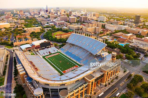 university of texas austin (ut) longhorns football stadium aerial view - university of texas at austin stock pictures, royalty-free photos & images