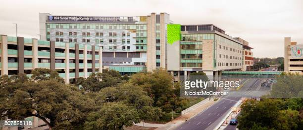university of texas dell seton medical center elevated view panorama - hospital building stock photos and pictures