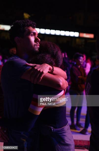 University of Texas El Paso students Carlos Rodriguez and Alexis Burt comfort eachother after Texas Congressman Beto ORourke delivered his concession...