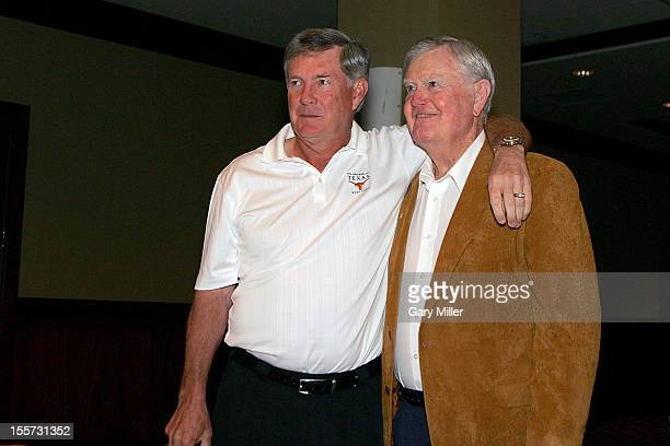 University of Texas football coaches Mack Brown and Darrell K Royal attend a breakfast at Frank Erwin Center on May 15, 2007 recognizing his fifty...