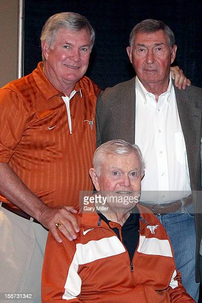 University of Texas football coaches Mack Brown, Darrell K Royal and Athletic Director DeLoss Dodds attend a breakfast recognizing Coach Royal's...