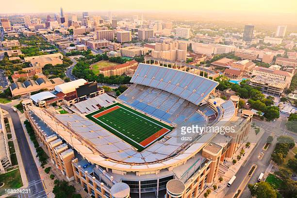 university of texas football stadium - aerial view - university of texas at austin stock pictures, royalty-free photos & images