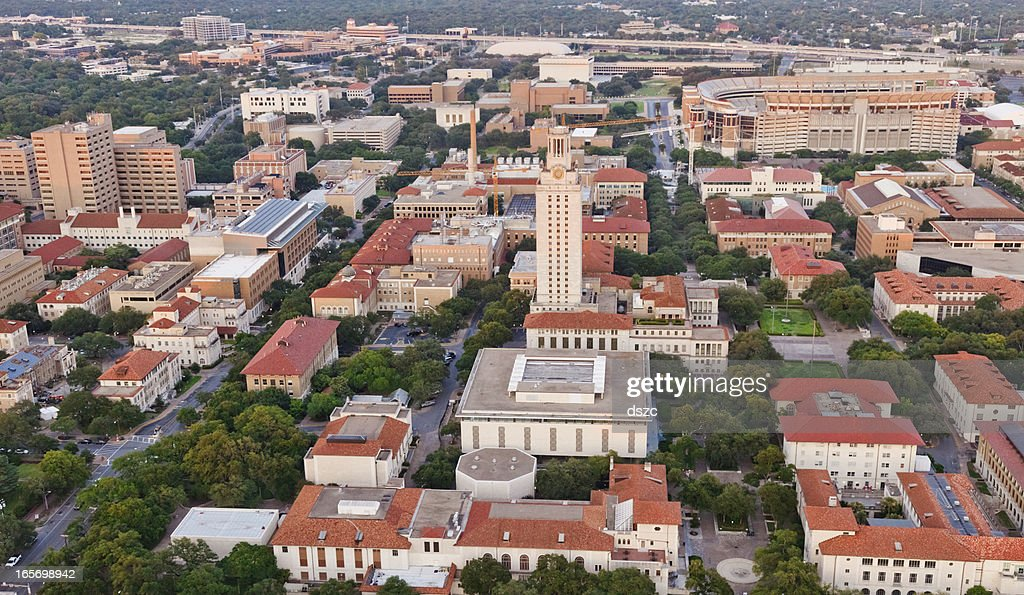 University of Texas UT Austin campus aerial view from Helicopter : Stock Photo