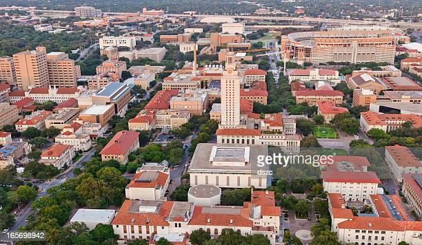 university of texas ut austin campus aerial view from helicopter - texas longhorn cattle stock photos and pictures