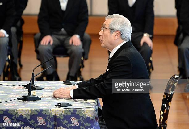 University of Tokyo professor emeritus Yoshiyuki Sakaki attends the 'KoshoHajimenoGi' or first lecture of the year at the Imperial Palace on January...