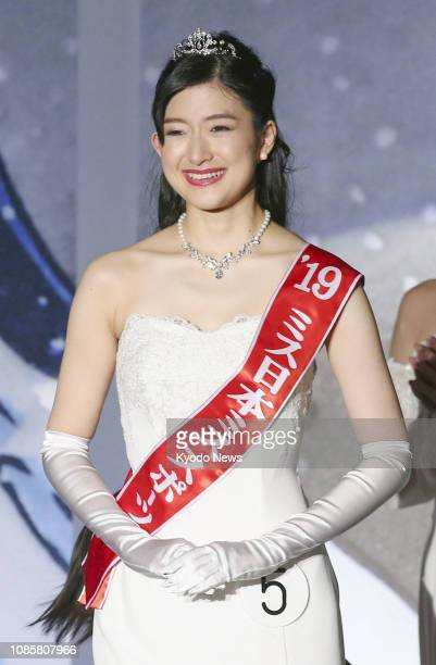 University of Tokyo student Aiko Watarai is pictured after winning the Miss Nippon contest in Tokyo on Jan. 21, 2019. ==Kyodo