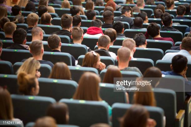 University of Voronezh are sitting in an auditorim on April 24 2019 in Woronesch Russia