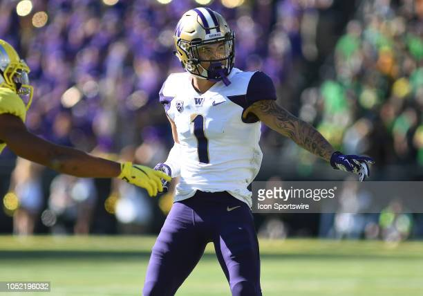 University of Washington defensive back Byron Murphy prepares for a play during a college football game between the Oregon Ducks and Washington...