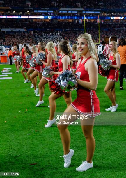 University of Wisconsin Badgers Cheerleaders as the Badgers compete against the University of Miami Hurricanes during the Capital One Orange Bowl on...