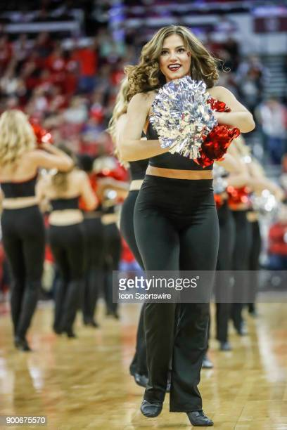 University of Wisconsin cheerleader during a college basketball game between the University of Wisconsin Badgers and the Indiana University Hoosiers...