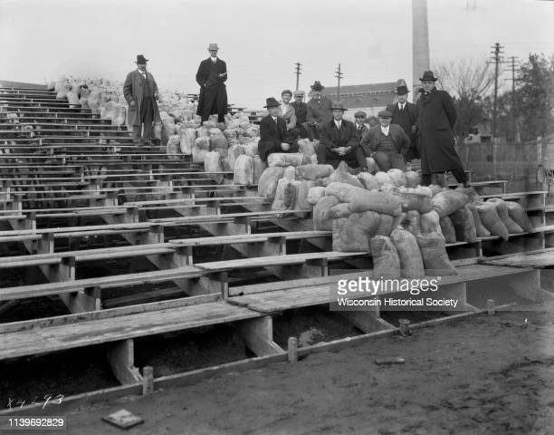 University of WisconsinMadison bleachers at Camp Randall Field undergoing weight test for proper load Madison Wisconsin 1916 They should support 6900...